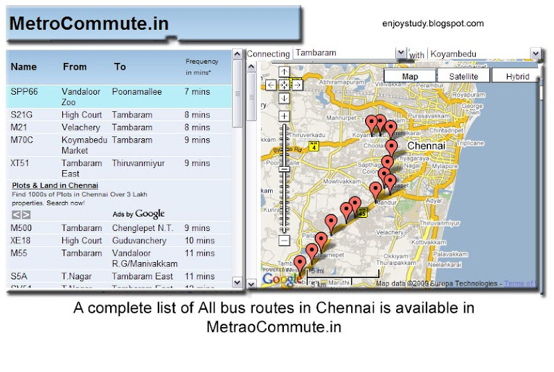 bus route,driving direction and walking directins for chennai city