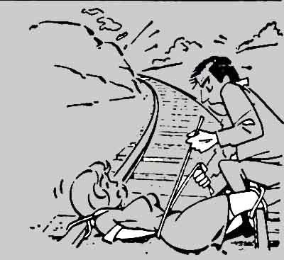 a beautiful wife on the railway track - a cartoon