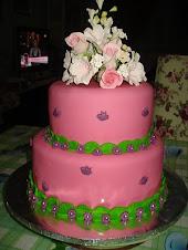Tempahan Fondant Cake stack 2 tingkat - RM350