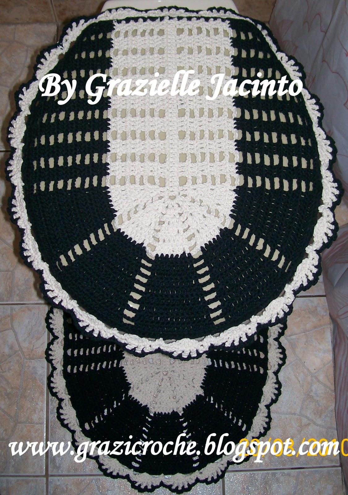 grazi croche: JOGO BANHEIRO BICOLOR #141B1C 1125x1600 Acessorios Para Banheiro Deca