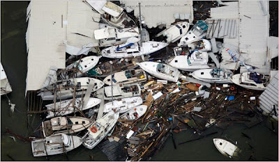 Boats and debris piled up in Galveston