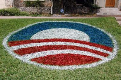 Obama yard art created by Shannon Bennett of Austin, Texas