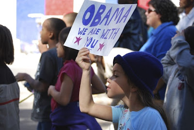 A young supporter at a rally with Michelle Obama in Las Vegas, New Mexico on October 29, 2008