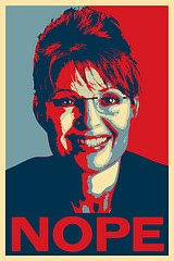 NOPE poster of Sarah Palin, parody of Shephard Fairey image