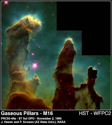 Gas pillars in the Eagle Nebula M16