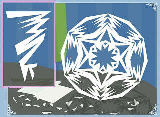 kathrins blog basteln von hexagonalen schneeflocken und. Black Bedroom Furniture Sets. Home Design Ideas