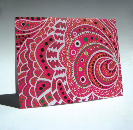 Pink Patterned Dot Design Card by Paper Squid