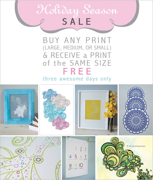Etsy Holiday Sale by Paper Squid Buy one print get one free