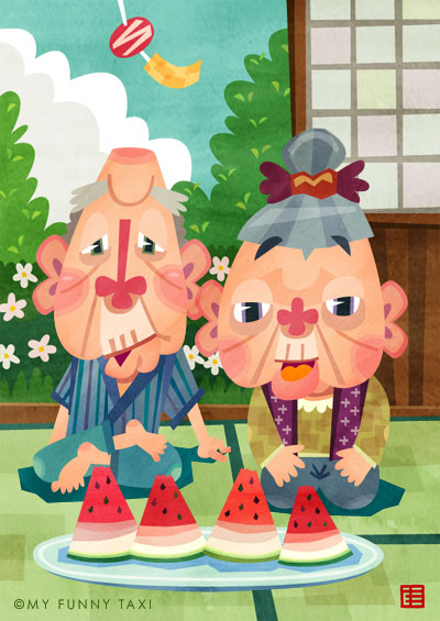 おじいちゃん・おばあちゃんのイラスト Grandparent illustration