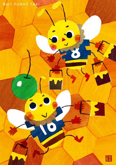 ミツバチのイラスト Soccer Bees illustration