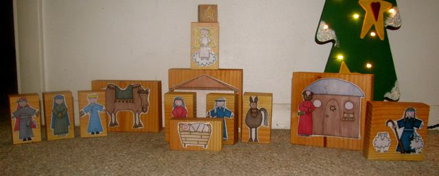 Do it yourself christmas nativity blocks the home teacher these are the blocks i made as gifts and of course i made an extra set for me this is your more typical nativity set with mary joseph baby jesus in a solutioingenieria Choice Image