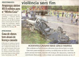 Violência sem fim. Acidente com veículos em estradas. Caminhonete colide com caminhão próximo a Londrina.