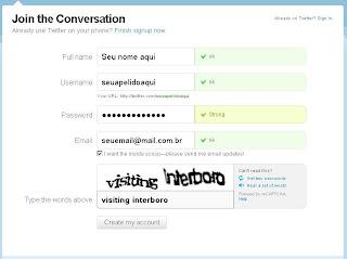 Escolhendo nome, apelido e senha. Criar conta no Twitter. Como começar no Twitter.