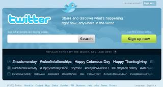 Página inicial do Twitter. Criar conta no Twitter. Como começar no Twitter.