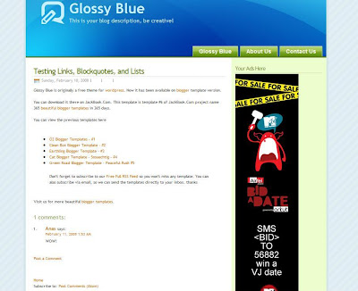 Glossy Blue Blogger Template