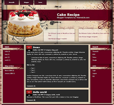 The Cake Recipe Blogger Theme