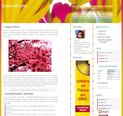The Colors of Life is a colourful theme designed by blogger tricks for