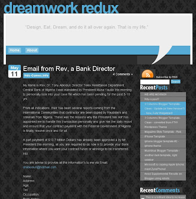 Dreamworks Redux Blogspot Template