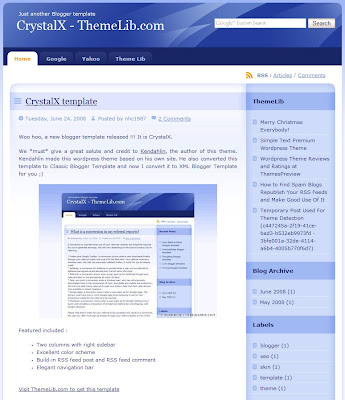 The CrystalX Blogger Theme