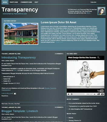 Transparency Blogger Theme