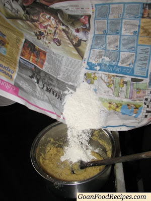 Add the Maida and add the Baking Powder to the mixture