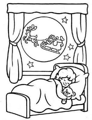 dibujo para colorear de un nino en la noche de navidad sonando con