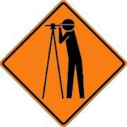 Cuidado, topógrafos trabajando
