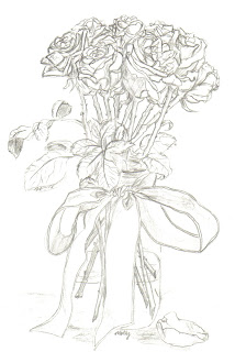 This is a pencil drawing of a bouquet of roses that i got for my