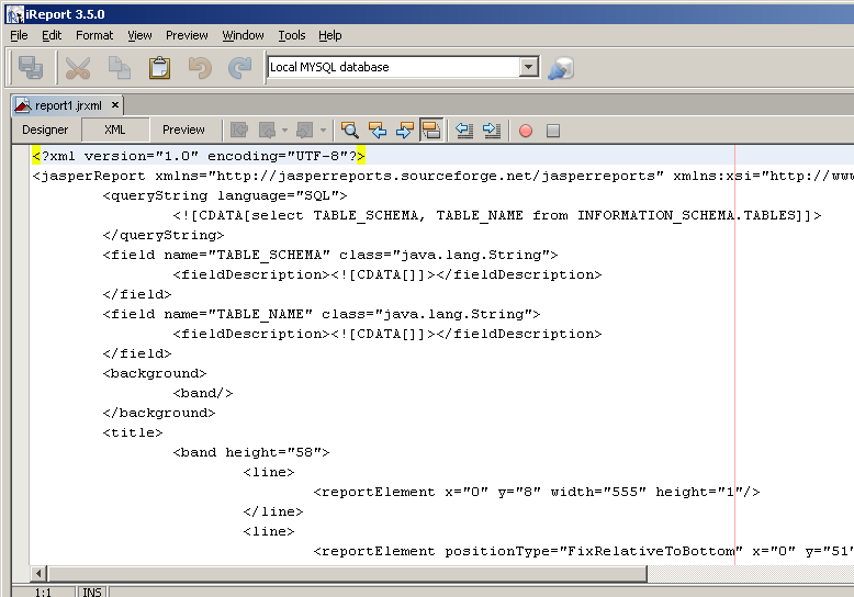 First report XML view