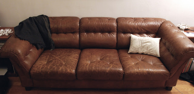 comfy leather sofa about worn out leather