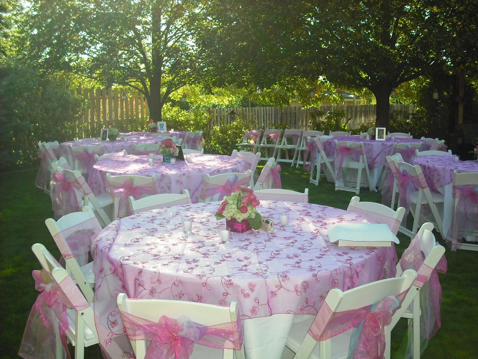 Orchid Wedding Design Pink, green, purple and blue Backyard Wedding