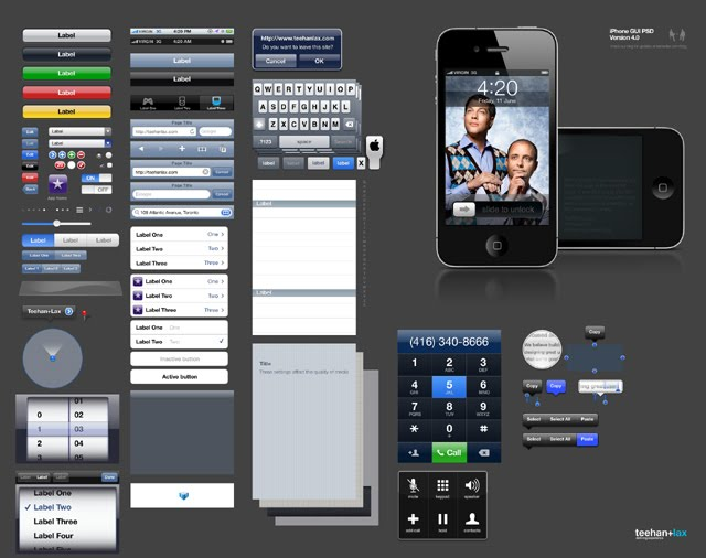 iPhone GUI Elements PSD