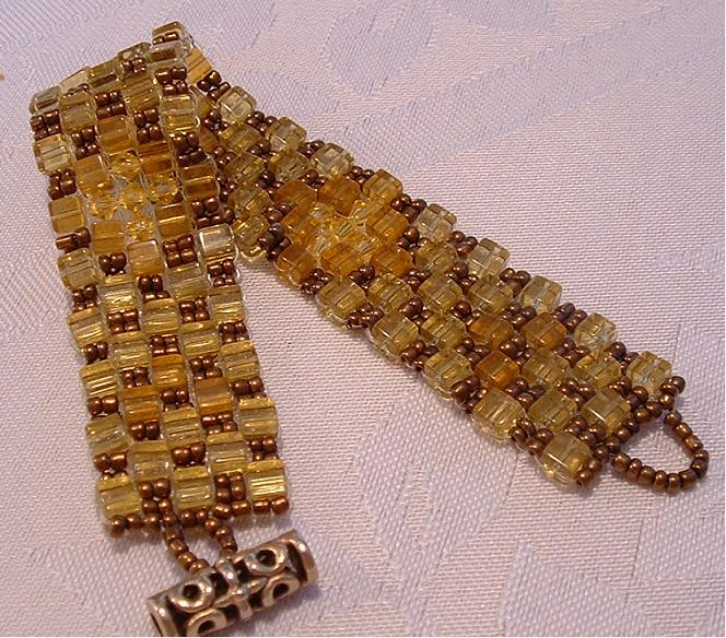 yellow cubes with swarovsky bicones bracelet