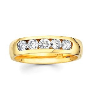 Beautiful Rings And Jewelry Gallery 14K Diamond Wedding Band For Men Yellow Gold 5 Diamonds In A Row Ring