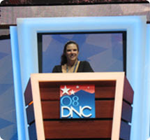 SunSpots Deb Munini takes the stage during setup at the DNC