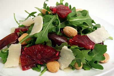Baby arugula, blood oranges, marcona almonds, dates and shaved ...