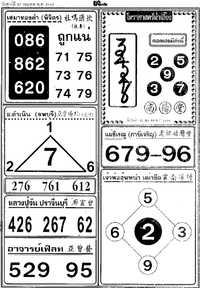Thailand Lottery Paper
