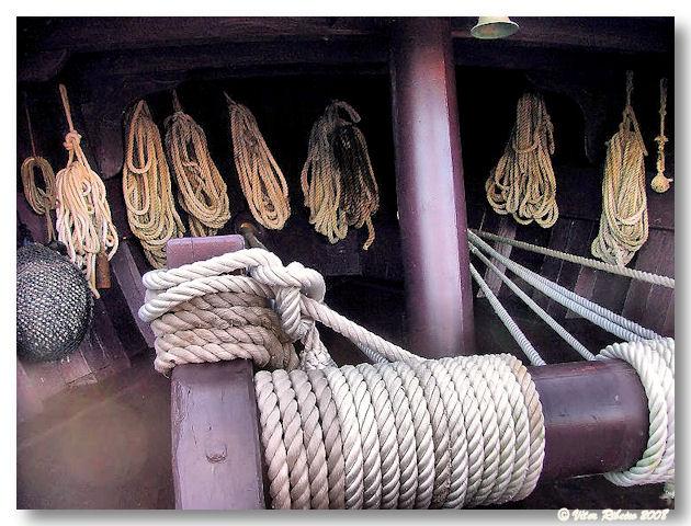 Cordas da réplica da caravela Pinta