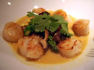 Miso cream scallops - Pan-seared scallops, baby corn, asparagus,