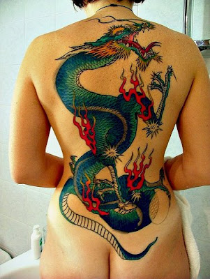 Dragon Tattoo Back Women Popular Sexy girls
