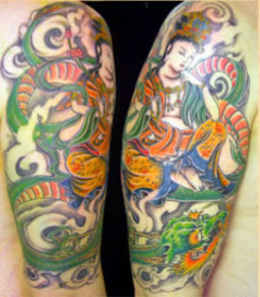 Japanese Arm upper Tattoo, Design Japan Tattoo on Body