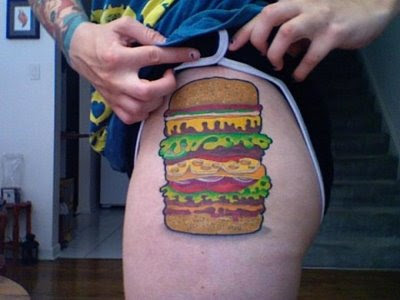 tattoos food, tattoo art on body, food tattoo popular, burger tattoo