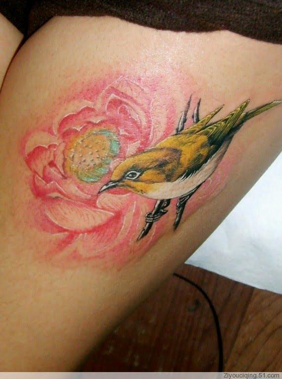 flower tattoos for girls. bird and flower tattoo, leg