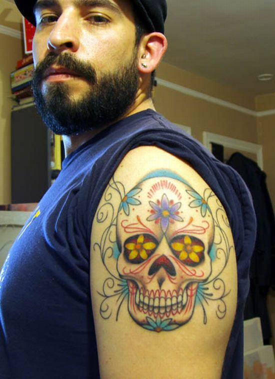 knack tattoo design: flower and skull tattoo, arm upper tattoo popular