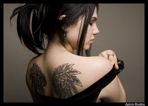 Tattoo gallery designs for Angel wings girl tattoos
