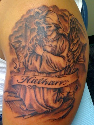 praying guardian angel tattoo black and shade by dublin ireland tattoo