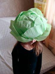 Как сделать капусту из бумаги своими руками на голову 49