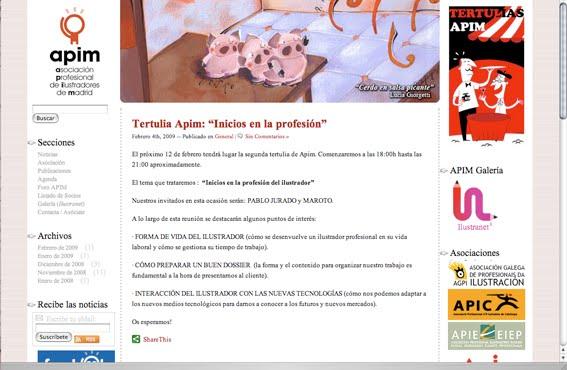 my page at APIM (Asociaciòn Profesional de Ilustradores de Madrid)