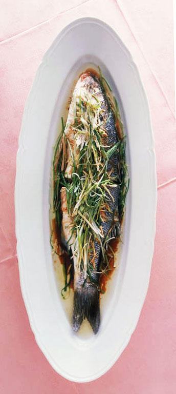 SpringChild: Sake-Steamed Sea Bass with Ginger and Green Onions