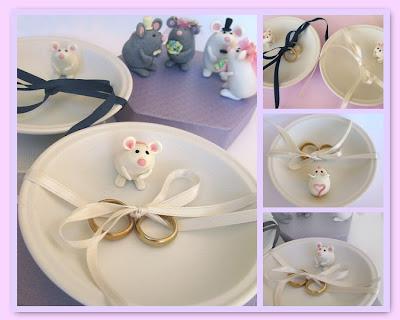 Cute wedding ring bearer pillow and mouse dish. Elegant, original